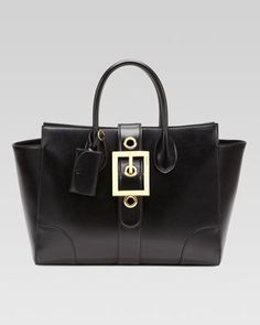 Lady Buckle Leather Top Handle Bag, Black by ...
