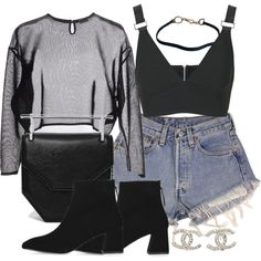 A fashion look from August 2016 featuring Yves Saint Laurent sweaters, Topshop tops and Levi's shorts. Browse and shop related looks.
