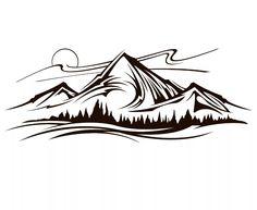 Mountain Landscape Drawing, Landscape Tattoo, Landscape Drawings, Landscape Illustration, Landscapes, Mountain Outline, Outline Pictures, Oregon Mountains, Natur Tattoos