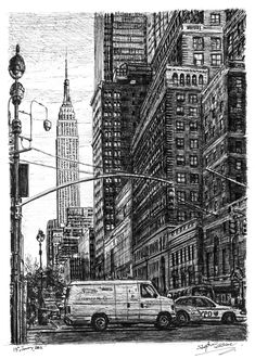 Street scene of 34th street New York - drawings and paintings by Stephen Wiltshire MBE