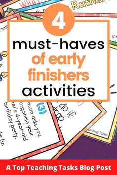"Early Finishers Activities are a must in your classroom. We have all heard the dreaded, ""I'm Done, Now What? Argumentative Writing, Persuasive Writing, Physics Classroom, Primary Classroom, Teaching Materials, Materials Science, Creative Thinking Skills, Early Finishers Activities, Higher Order Thinking"