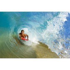 238f3a3a95 Hawaii Maui Makena - Big Beach Boogie Boarder Riding Barrel Of Beautiful  Wave Canvas Art - MakenaStockMedia Design Pics (34 x 22)