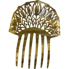Vintage Art Deco Hair Comb Faux Tortoiseshell Spanish Style from pearlgirls on Ruby Lane