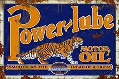 Rare Vintage Power~Lube Motor Oil 2 Sided Porcelain Metal Sign in Collectibles, Advertising, Gas & Oil, Merchandise & Memorabilia, Signs