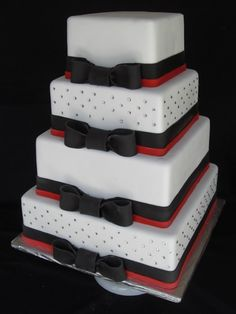 Red and black bows and rhinestones wedding cake