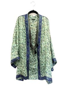Silk Kimono jacket / cover up / bed jacket mint and by Bibiluxe, £75.00