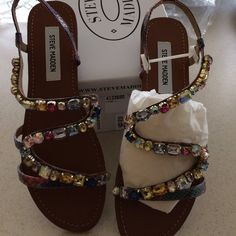 Steve Madden jeweled sandals Gorgeous multi colored stone sandals. Steve Madden Shoes Sandals