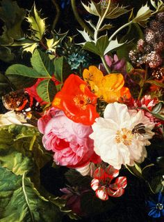Maria van Oosterwyck. Detail from Bouquet of Flowers in a Vase, 1670.