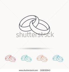 Wedding rings icon. Bride and groom jewelery sign. Linear icons on white background. Vector - stock vector