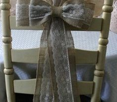 Burlap and white lace pew bows or for backside of chairs Wedding Bows, Diy Wedding, Rustic Wedding, Dream Wedding, Wedding Ideas, Wedding Vintage, Vintage Diy, Wedding Stuff, Burlap Wedding Decorations