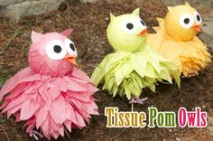 owl tissue poms. For more great birthday party ideas and decorations visit Get The Party Started on Etsy at www.GetThePartyStarted.Etsy.com