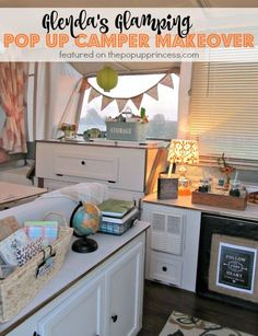 Glenda's Pop Up Camper Makeover: Such an amazing pop up trailer makeover. Glenda turned her drab 90\'s camper into a glamping getaway!
