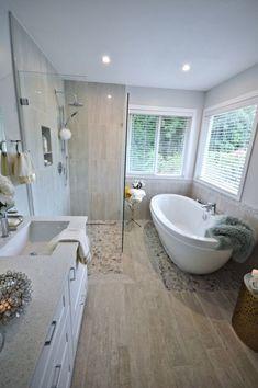 Bathroom Renos, Bathroom Renovations, Spa Master Bathroom, Basement Bathroom, Bathtub Tile Surround, Spa Inspired Bathroom, Master Bath Remodel, Bathroom Design Luxury, Bathroom Inspiration