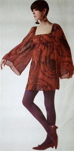 Model Peggy Moffitt wearing a dress created by Rudi Gernreich.French Elle,May 1968.
