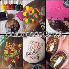 Colores de Carol: Happy First Day of Autumn! Stamping nail art, pictorial, Bundle Monster plate, multicolored leaves