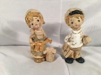 VERY RARE Pair Vintage Lefton Japan School Boy Laundry Girl Figurine Ceramic Vtg