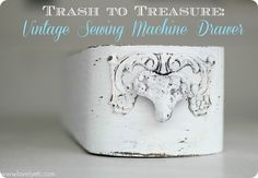 Trash to treasure sewing machine drawer. Even one little homeless drawer can be a beautiful organizer.
