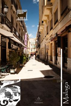 Echegaray Street in Malaga. Near Catedral, Picasso Museum, Tapas Quitapenas, Tapas El Pimpi, and Alfajar, a nice andalusian pottery shop.  Street in Malaga by Anna Seweryn. #Malaga #Spain #Andalucia #street