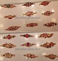 Gold and ruby mugappu designs with double hooks best suitable for decorating thali chain haging at the collar side of the neck to appear . Gold Jewelry Simple, Gold Jewellery, India Jewelry, Latest Jewellery, Chain Jewelry, Bridal Jewellery, Gold Bangles, Antique Jewellery Designs, Jewelry Design