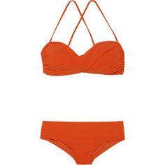 Chloé Twist-front hipster bikini ($270) ❤ liked on Polyvore featuring swimwear, bikinis, swimsuits, swim, bathing suits, bright orange, retro bathing suits, bathing suits bikini, swimsuits bikinis and orange bikini