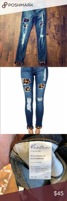 KanCan Skinny Distressed Jeans with Leopard Print Like new! These are seriously the cutest jeans I've ever owned. They are super skinny, distressed, can be worn with boots, sandals, heels. Dress them up or wear them with a t-shirt and flip flops. Very versatile and fun! These have a lot of stretch, so if you're between  sizes you should be fine. I tried them on a few times but sadly my days of wearing a size 3 are over 😬 27 inch inseam. Buckle Jeans Skinny