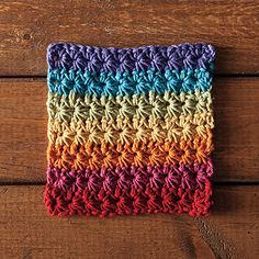 Start your day off right with a dishcloth of deliciously intense fruit flavors. Made with whole cotton fiber and lightly sweetened, Fruity Loops makes dish washing fun, and is a good source of rainbow cheer. The star stitch is not only fun and relatively simple, but it also crochets along very quickly. It creates a wonderfully textured stitch and thick, sturdy fabric.