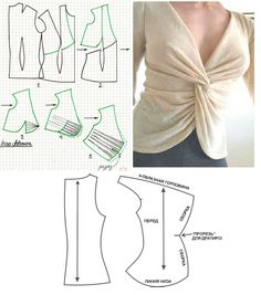 DIY - molde, corte e costura - Marlene Mukai Dress Sewing Patterns, Blouse Patterns, Clothing Patterns, Blouse Designs, Moda Fashion, Fashion Sewing, Sewing Blouses, Handmade Clothes, Pattern Fashion