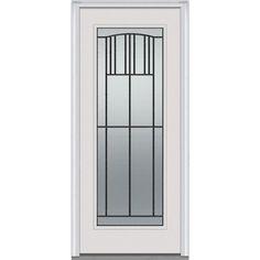 Milliken Millwork 37.5 in. x 81.75 in. Madison Decorative Glass Full Lite Painted Fiberglass Smooth Exterior Door, Brilliant White