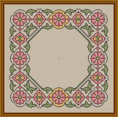 Frame Biscornu Cross Stitch, Cross Stitch Borders, Cross Stitches, Cross Stitch Embroidery, Cross Stitch Patterns, Borders And Frames, Needlepoint, Diy And Crafts, Rugs
