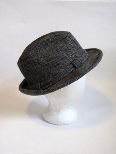 7201bb99302 Vintage Gray Tweed Fedora Mens Hat - Size 7 1 8