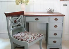 Antique 1920's 9 Drawer Desk with Matching Upholstered Chair ~ Perfect Vintage Loveliness!  prodigalpieces.com #prodigalpieces