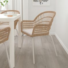 Chair with chair pad, rattan white, Laila natural Ikea Dining Chair, Kitchen Chairs, Table And Chairs, Side Chairs, White Dining Chairs, Rattan Chairs, Chair Cushions, Accent Chairs, White Dining Rooms