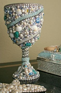 bbsimononline.com I could do this with glass chalice..decoupage, embellish