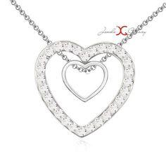 Buy Jewels Galaxy Swarovski Elements Double Heart Design Platinum Plated Marvelous Pendant