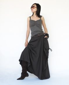 NO.123 Charcoal Cotton Jersey Mega Pocket Maxi Skirt by JoozieCotton on Etsy https://www.etsy.com/listing/175847103/no123-charcoal-cotton-jersey-mega-pocket