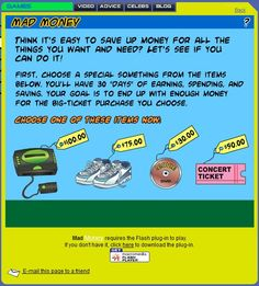 FREE Mad Money Online Economics Game~  Students earn and spend money, trying to balance needs and wants, and save enough for the big ticket item at game's end!