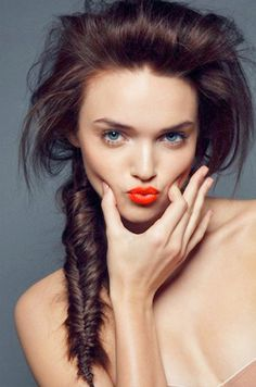 Trending now...orange lipstick.  So pretty!