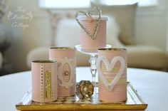 Shabby Pink Tin Can Craft - Repurpose Upcycle
