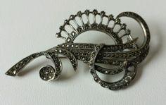 Deco C 1930s Sterling Marcasite Brooch Pin   eBay