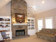 More ideas on how to build shelving for the fireplace.