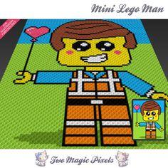 Mini Lego Man inspired crochet blanket pattern; knitting, cross stitch graph…