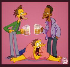 Bar Flies by on DeviantArt Simpsons Drawings, Simpsons Cartoon, Cartoon Art, Los Simsons, Deer Art, 90s Cartoons, Spongebob Memes, Futurama, Pretty Art