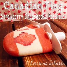Looking for some patriotic treats for Canada Day? Try one of these delicious Canadian Flag Strawberry Cheesecake Popsicles made with fresh strawberries and cream cheese. Good Desserts To Make, Fun Desserts, Dessert Recipes, Cheesecake Popsicles, Strawberry Cheesecake, Frozen Desserts, Frozen Treats, Canadian Food, Canadian Flags