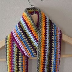 Free Crochet pattern: Scrapadelic Scarf- use all your leftover yarn to make this scarf! Skill level: Easy