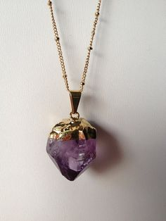 Amethyst long necklace raw amethyst gemstone by MaimodaJewelry, $25.00