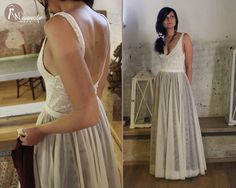 Two pieces wedding dress: lace top with deep neckline and low back + tulle skirt colored, separate dress, customized size, crochet pattern Wedding Bodysuit, Unusual Wedding Dresses, Tulle Wedding Skirt, Two Piece Wedding Dress, Yes To The Dress, Bridal Lace, Dress Lace, Crochet Pattern, Formal Dresses