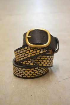 "Calleen Cordero 1"" leather belt with bronze and silver artwork. Handcrafted in California."