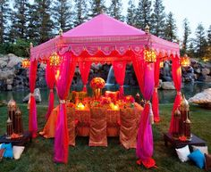 There is just something completely magical about khaimas (tents) & lanterns. One of my favorite solutions comes to us from Raj Tents in Torrance, California. They rent stunning small and large tents in rich colors, perfect for setting an Indian/Persian/Moroccan style mood. (wedding planning blog)