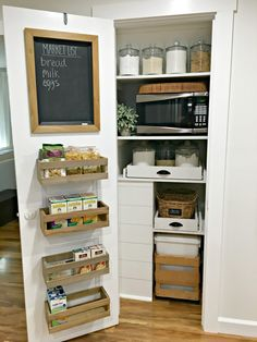 Farmhouse Style Pantry Makeover – The Dutch Farmhouse | We turned our useless kitchen closet into a bright farmhouse style pantry full of useful storage. Come see how we did it on the blog!