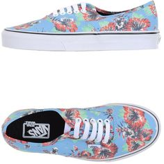 Vans Sneakers ($64) ❤ liked on Polyvore featuring shoes, sneakers, vans, sky blue, round toe flat shoes, floral pattern shoes, floral sneakers, vans shoes and floral print shoes